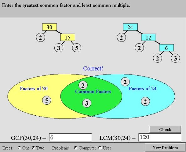 Nlvm prime factors mathematics for students once both factor trees are complete the prime factors can be dragged to the given venn diagram and the hcf and lcm checked ccuart Choice Image