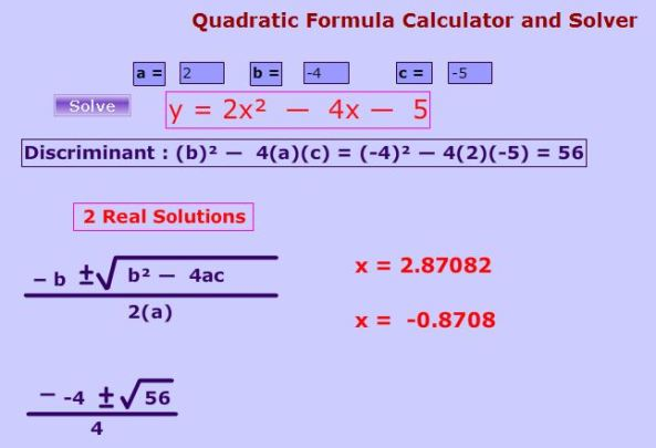 Quadratic Equation Calculator - Math Wareouse