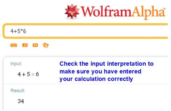 Check calculations on WolframAlpha