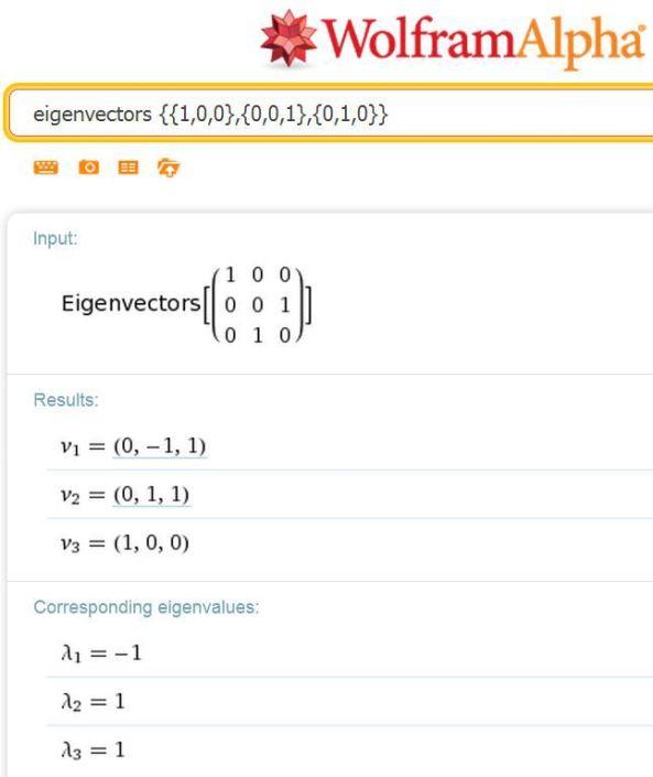 WolframAlpha-eigenvectors