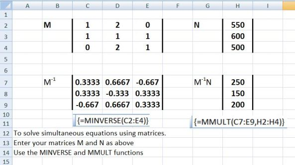 Excel sim equations & matrices