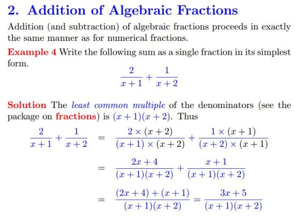 Plymouth University Algebraic Fractions