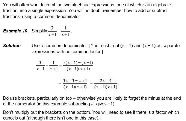OCR Transition Algebra Fractions