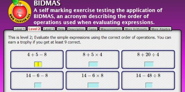 Transum Order of Operations