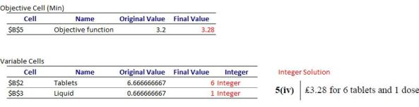 Excel Solver Answer Report Integer